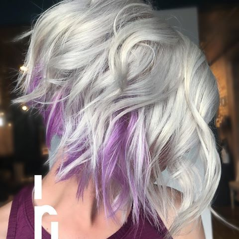 Ice with a pop of purple!  #headrushdesignsbyjulieann . . . Formula: lightened to 9/10 with @joico blonde life toned with @redken 9p+9v+cl+ olaplex. Underneath color @joicointensity soft pink + light purple+ lilac + olaplex . . . #unicornhair #shorthairdontcare #behindthechair #joicointensity #olaplex #imallaboutdahair #icyblonde #platinumblonde #bob #stackedbob #theprismatics #citiesbesthairartists #majesticmisfits #purplehair #nothingbutpixies #texture #curls #messyhair #theprismati...