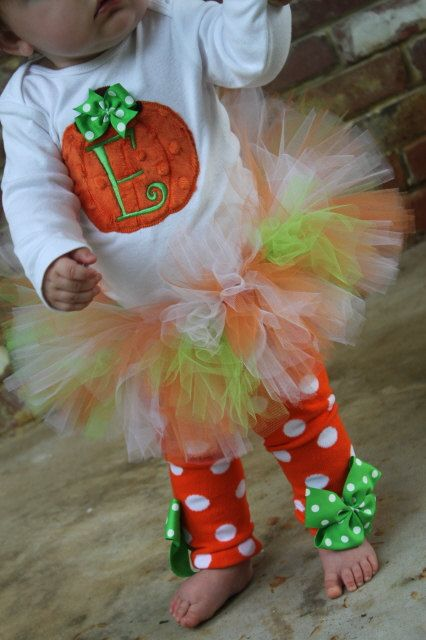 Pumpkin Outfit -- Baby Girl Pumpkin Outfit -- Pretty Little Pumpkin -- onesie, tutu, leg warmers and Over The Top bow