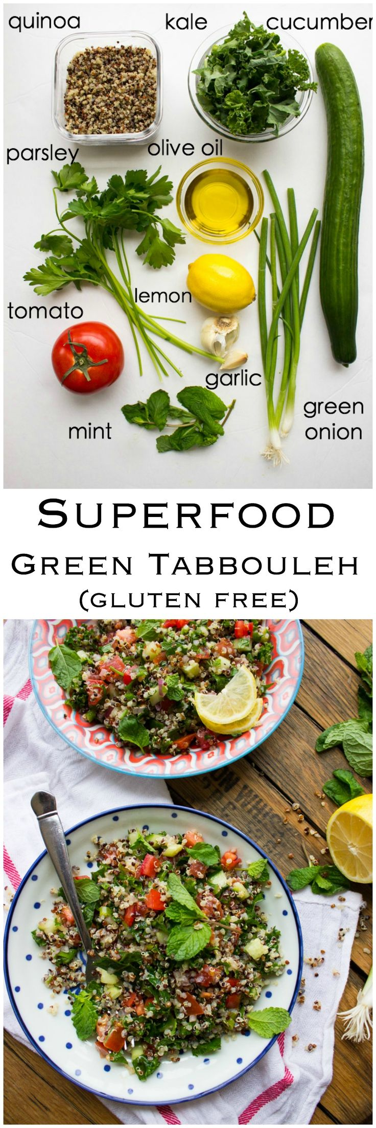 Superfood Green Tabbouleh - this gluten free salad made with superfood quinoa and kale. Takes minutes to make. Top it with chicken for healthy complete meal. SO GOOD! | littlebroken.com @littlebroken
