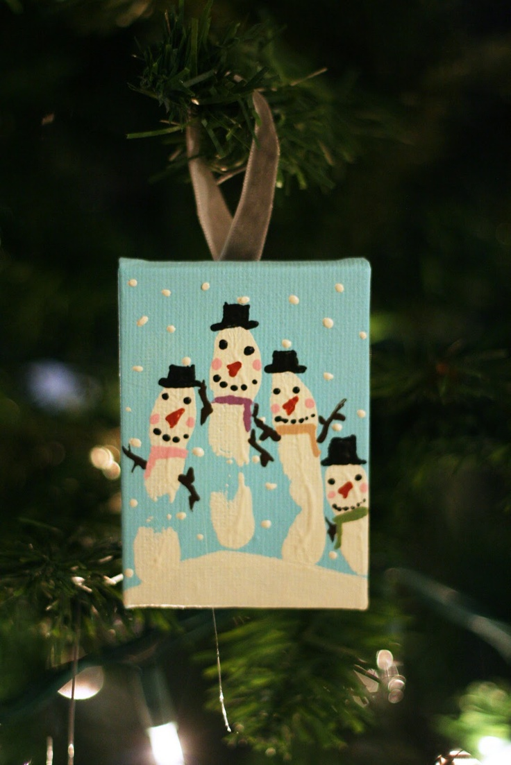 LOVE this idea. Handprint snowmen. Tweaked a little for gifts last year -- did on tall baby food jars as votive holders. Super cute.