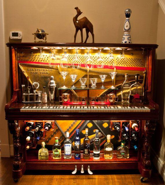 Piano-Bar re-conçu de Piano droit par GTMWoodWorking sur Etsy