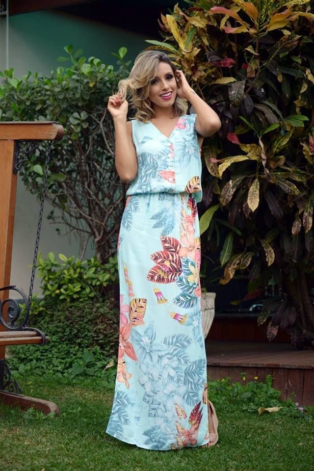 looksly - Camila Milagres com vestido longo estampado do Verão 2016