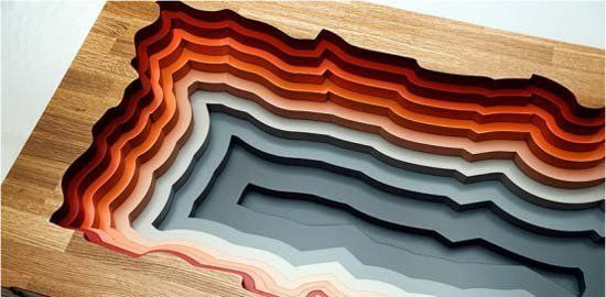 layered wood table