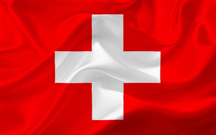 Hämta bilder Schweiziska flaggan, Schweiz, Europa, Schweiz flagga, rött siden