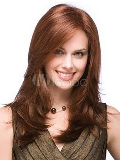 [$28.79 - 40%OFF] Mahogany Medium Side Parting Heat-resistant Fiber Medium Wig For Women
