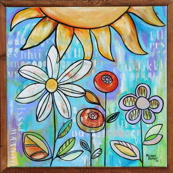 Fun floral painting by Melanie Douthit. great for girls room, nursery or teen. Or just for fun.