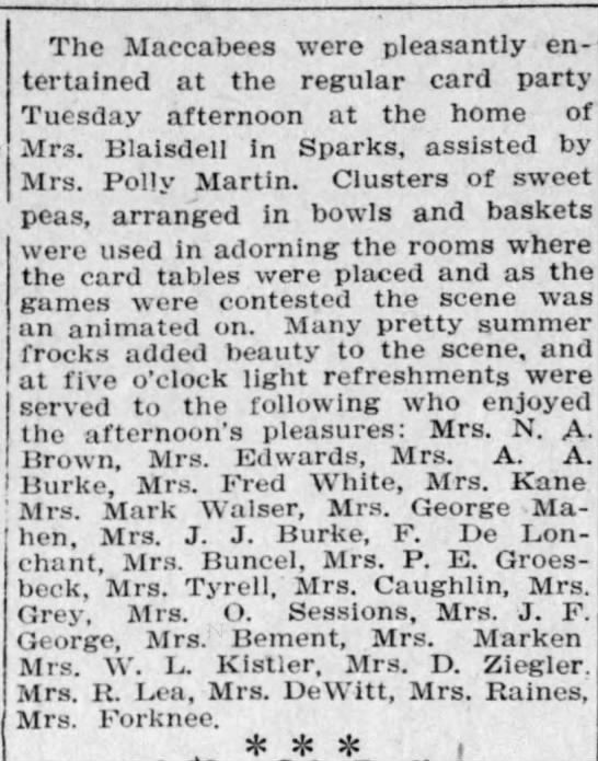 Reno Gazette-Journal, 17 Aug 1912, Sat, Main Edition  Mary Buncel attends card party of the Macabees