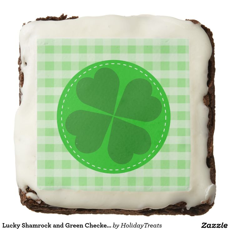 Lucky Shamrock and Green Checkered Square Brownie