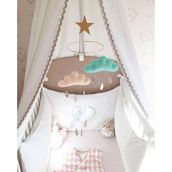 Bestseller : Mint Apricot White cloud mobile for nursery with