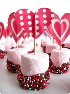 Marshmallow Valentine's Day Treats - Dipped in Chocolate and rolled in sprinkles.  Toothpick topper.  Picture only