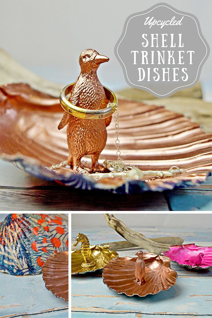 These gorgeous scallop shell trinket dishes are so easy to make by upcycling old shells and plastic sea animals.  They make a lovely gift.