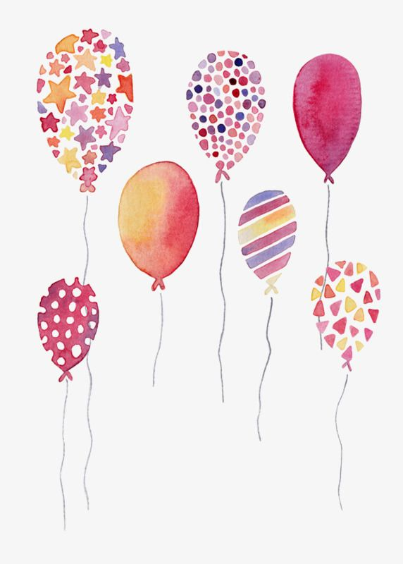 Watercolor Balloons Watercolor Clipart Hand Painted Balloon Png