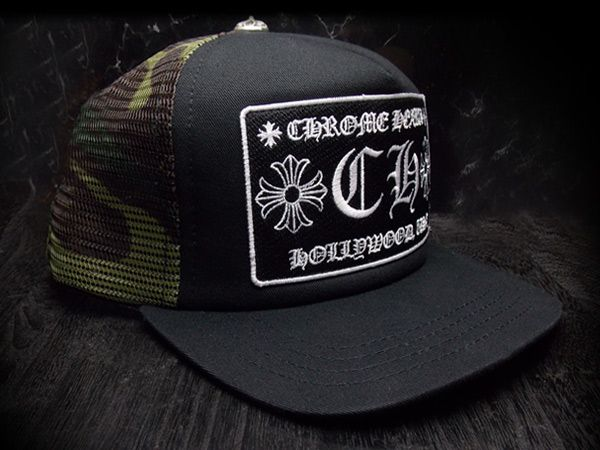 CHROME HEARTS Trucker Cap +CH+ Patch Black/Camouflage