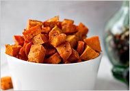 Coconut Oil Roasted Sweet Potatoes - Skip the brown sugar and/or maybe use just a bit of honey.