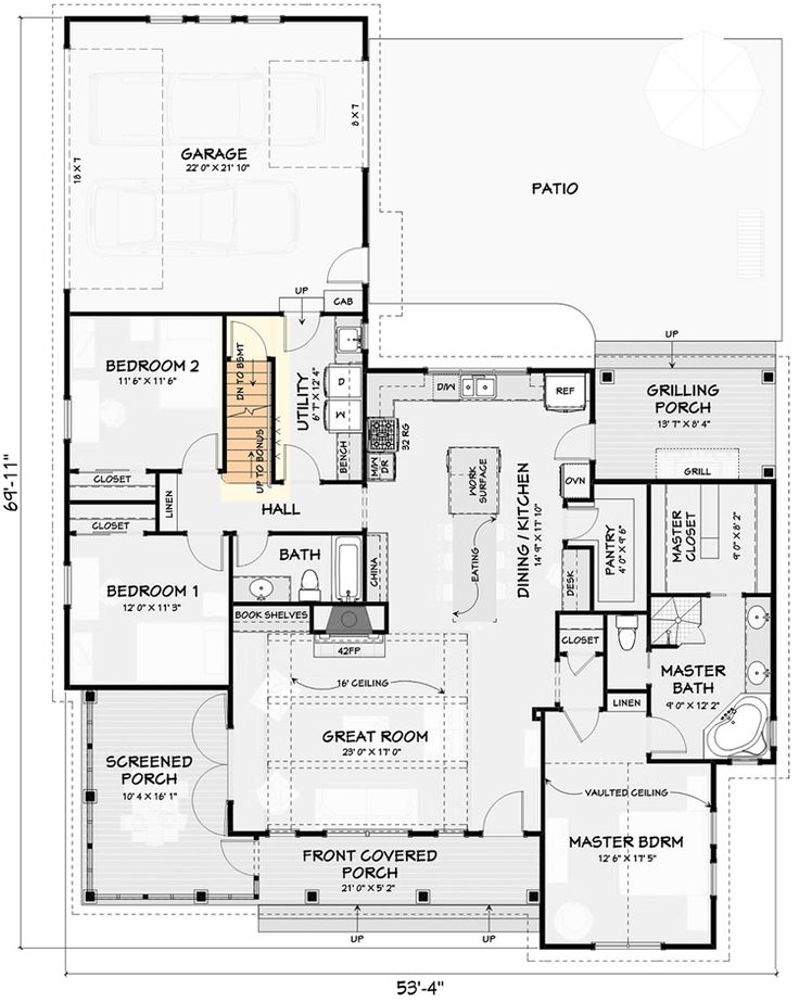 Plan 28931jj 3 Bed Farmhouse With Bonus Room And Attached 2 Car Garage Basement House Plans House Plans Farmhouse Ranch House Plans
