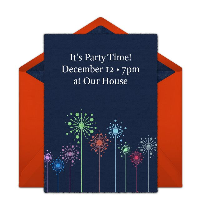 Customizable, free Colorful Fireworks online invitations. Easy to personalize and send for a New Year's Eve party. #punchbowl
