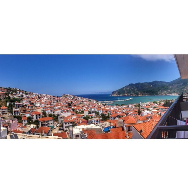 Panoramic view from my balcony in Skopelos, Skopelos, Greece