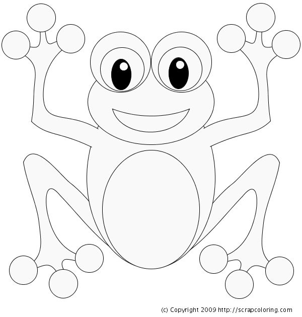Frog coloring page - can easily be halved for mirror image lesson (plus incorporates obvious OiLS shapes)
