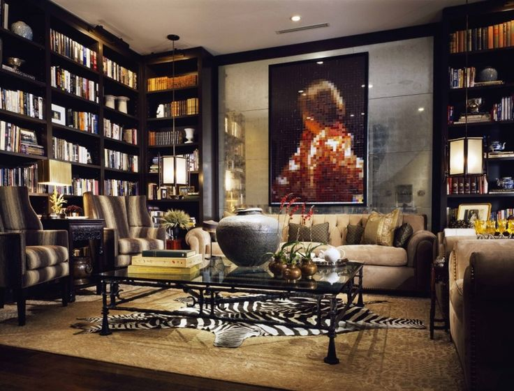 Suzanne Lovell Used Dramatic Wall To Bookcases In A Dark Java Wood For This Fabulous Living Room