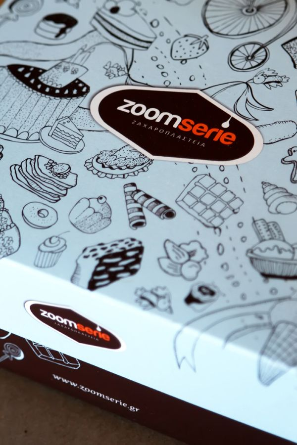 Colour print for Zoomserie pattiserie. Gloss finish with playfull sketches. @ oghpack.gr #oghpack #greece