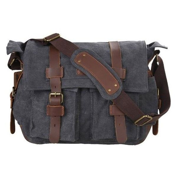 Amazon.com Kattee Classic Military Canvas Shoulder Messenger Bag Leat ❤ liked on Polyvore featuring bags, messenger bags, courier bags, military laptop bag, military canvas bag, laptop bags and laptop courier bag