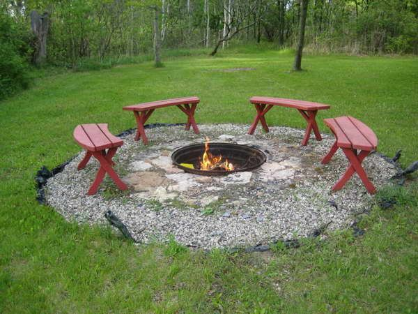 In Ground Fire Pit With Red Chair Interior Design - GiesenDesign