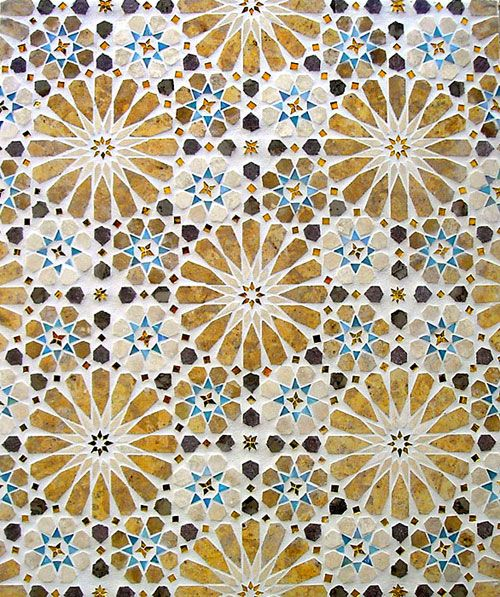 Alhambra mosaic panel in stone & glass