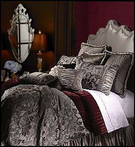 The deep and rich colours combined with the Ornate Scroll Pattern make this ensemble appear luxurious and comfortable! The mixture of fabrics provides the ensemble with depth. The elegant and beautifully accented decorative pillows take luxury one step further.