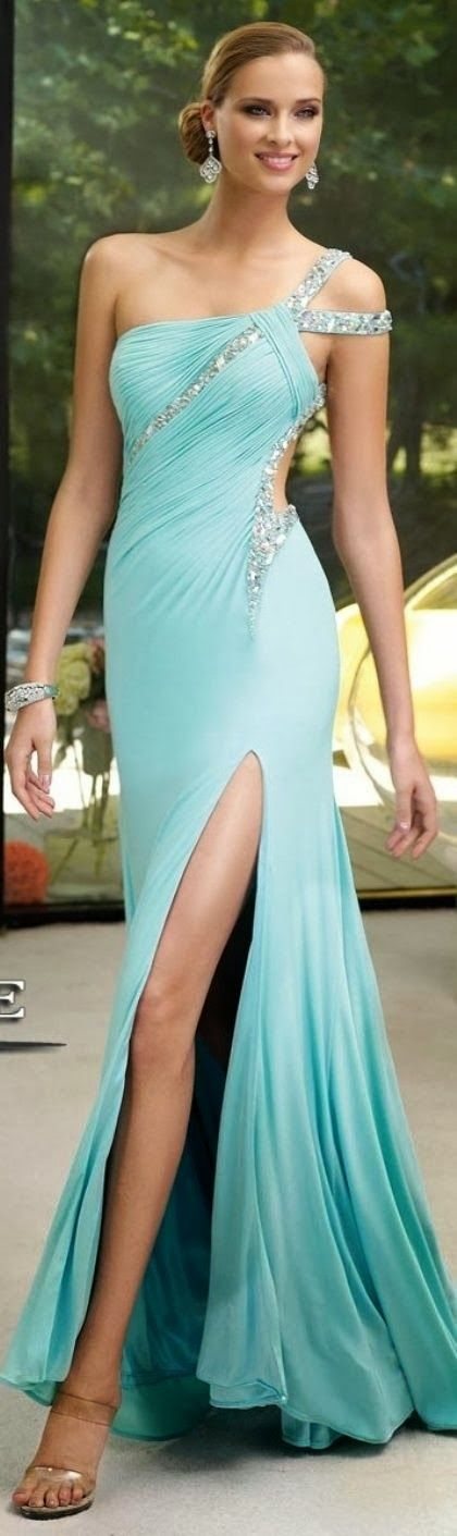 One Shoulder Blue Bead Maxi Dress