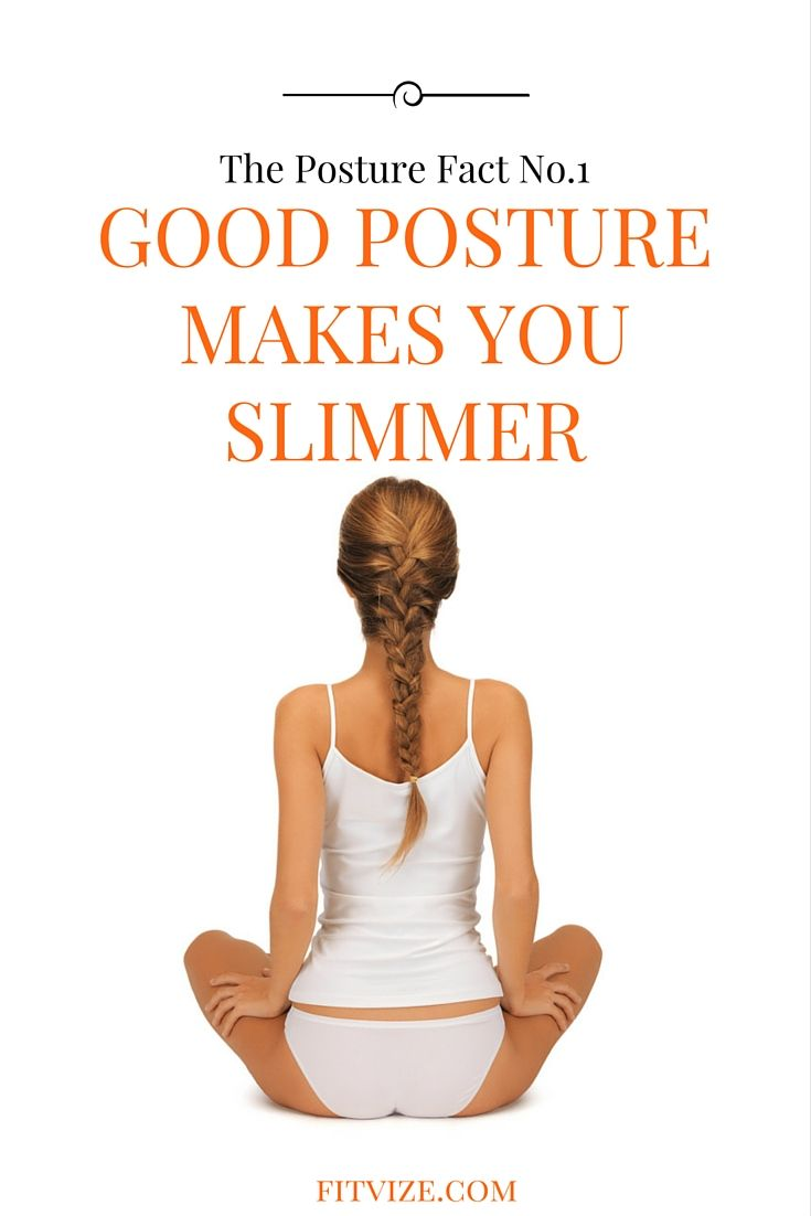 "The Posture Fact No.1 It Makes You Slimmer. Take a deep breath in, pull your belly button in and, while exhaling, elongate your spine from your tailbone to your neck and make a semicircle move back with your shoulders (like you want to get rid of your jacket). Voila! Now you look at least 7 pounds lighter and can make a fortune teaching a course ""how to lose weight without diets and exercising"". Read our Posture Improvement Guide at fitvize.com"