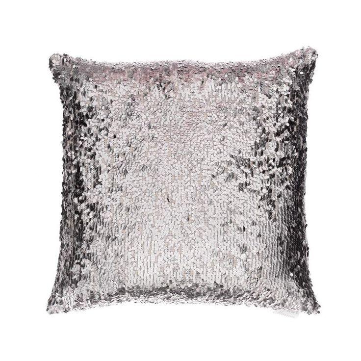 Voyage Maison Aquila Platinum Square. Available at www.thegreatbriti... #voyagemaison #thegreatbritishhome #cushion #homedecor #madeinbritain #sequins #silver