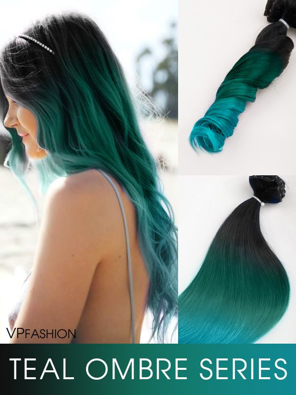 off black to teal green to teal blue mermaid colorful ombre indian remy clip in hair extensions-c037