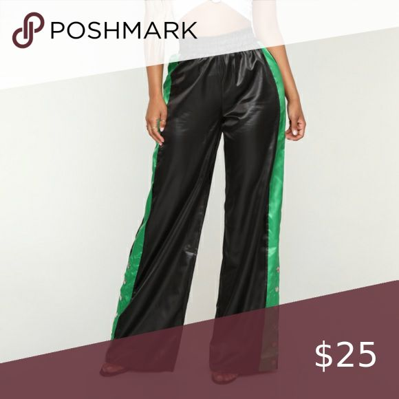 black green flare striped pants pants flares polyester pants