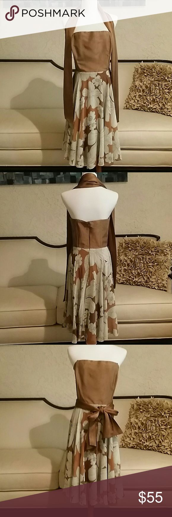 Speigel Special Occasion Sundress Speigel silk and Sheer.  Silk is a Stunning Copper/Gold.  Great Condition Worn 1 Time to Class Reunion. Dresses Strapless