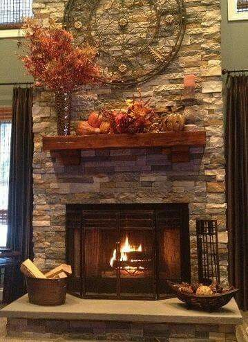 Love the back splash on this fireplace!                                                                                                                                                     More