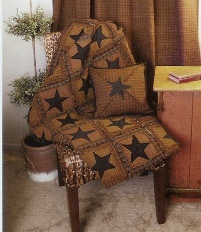Country Primitive Rag Star Quilt