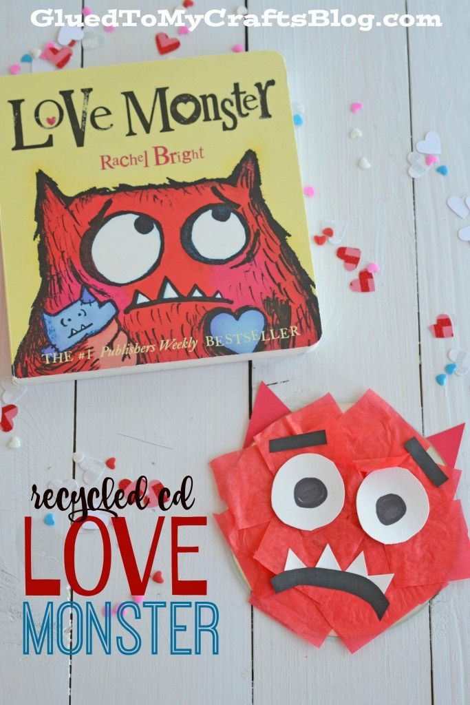 Recycled CD Love Monster - follow up activity for Love Monster book to craft on Valentine's day
