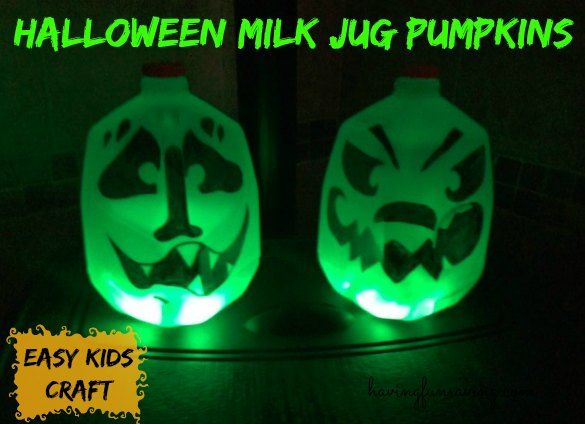 Halloween Milk Jug Pumpkin Craft Halloween is just around the corner and I thought you guys would like a fun craft today! We live in FL and pumpkins can ac