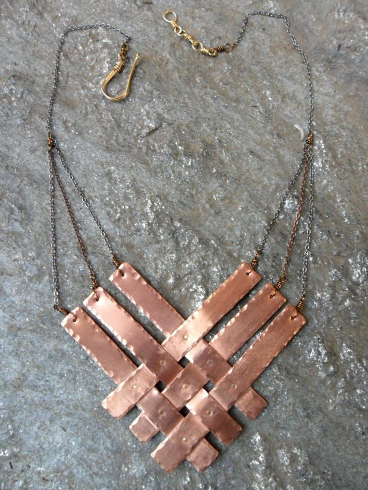 Woven Necklace. via Etsy. Neat idea to weave metal strips !