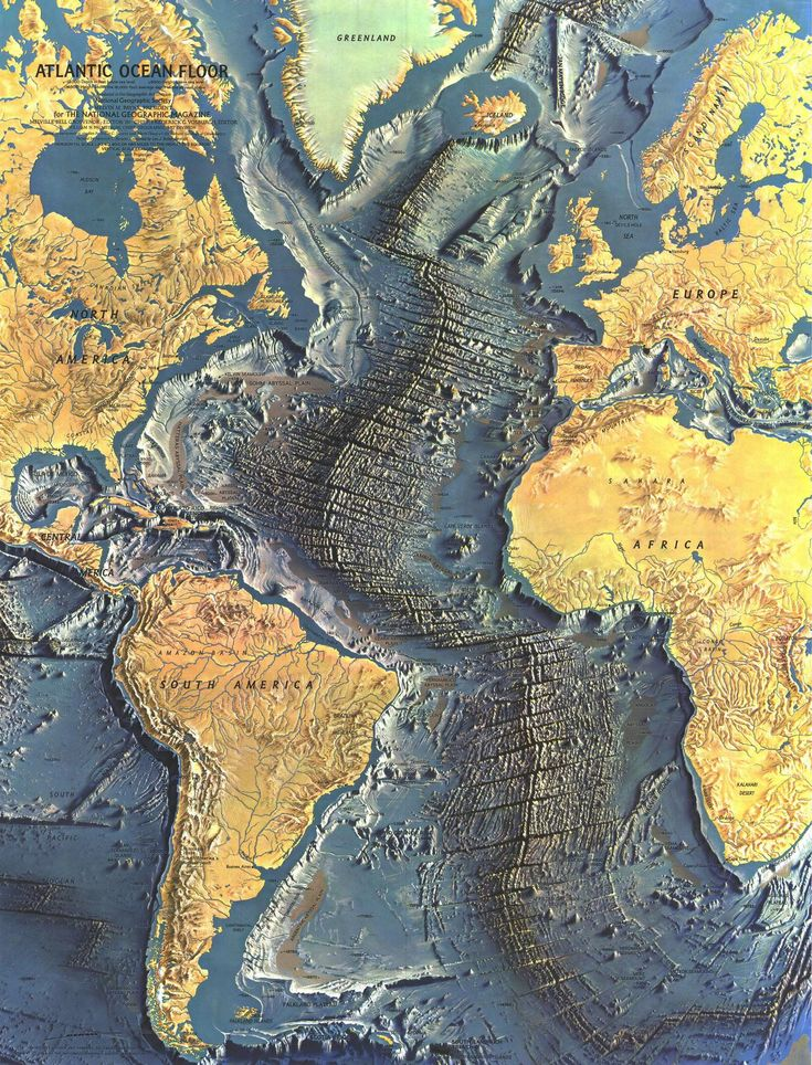 Detailed Map of the Atlantic Ocean Floor