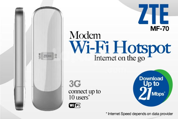 Create Your Own WiFi Zone with ZTE MF70 3G Mobile WiFi Modem Router (Support Up to 10 Devices). Only Rp 480.000,-