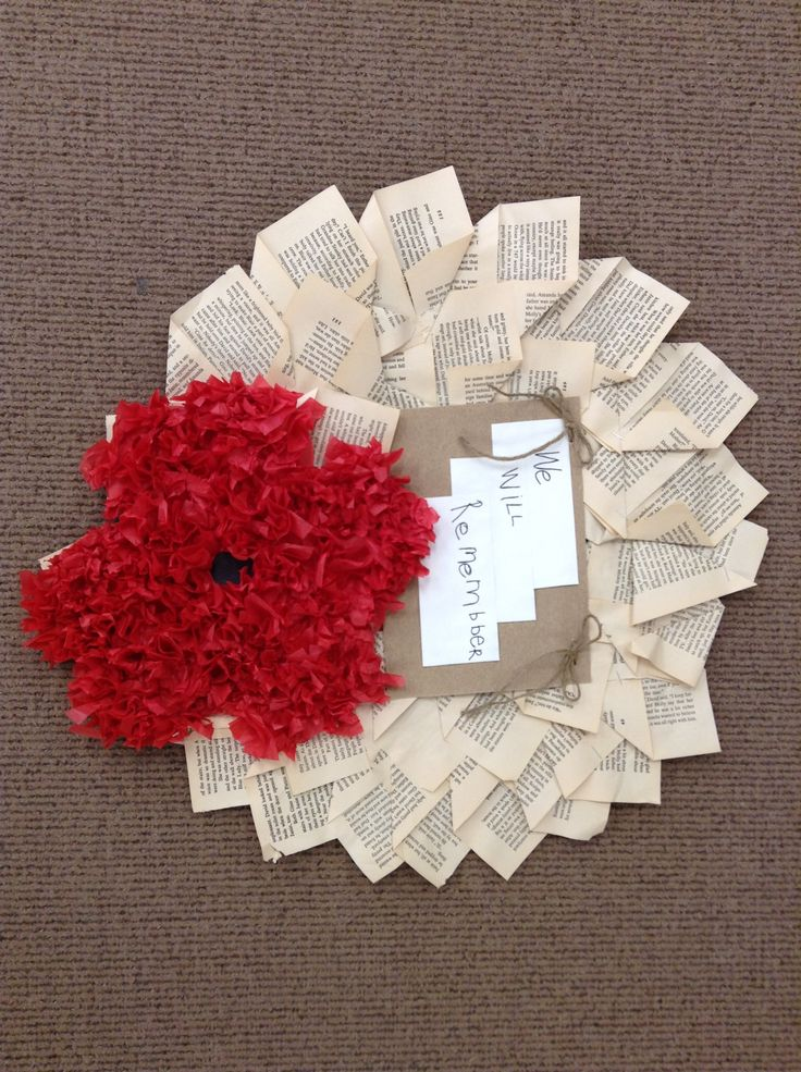 Our Remembrance Day wreath. We folded pages from an old ...