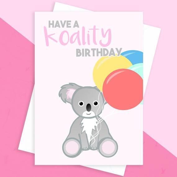 Koala Birthday Card Koality Birthday Card Australia Etsy Funny Birthday Cards Animal Puns Funny Birthday Cards