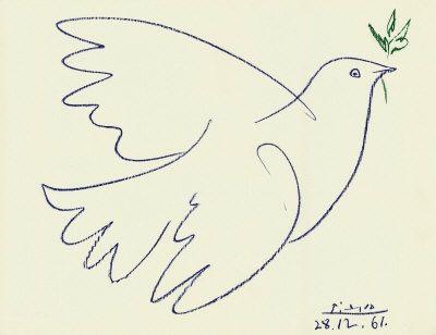 Na de tweede wereldoorlog was het Pablo Picasso (1881-1973), dan communist, die de vredesduif een werkelijk hoge vlucht deed nemen. Op zijn lithografie ontworpen voor het internationale vredescongres in Parijs 1949 figureert de witte stamvader van een nieuw duivengeslacht.