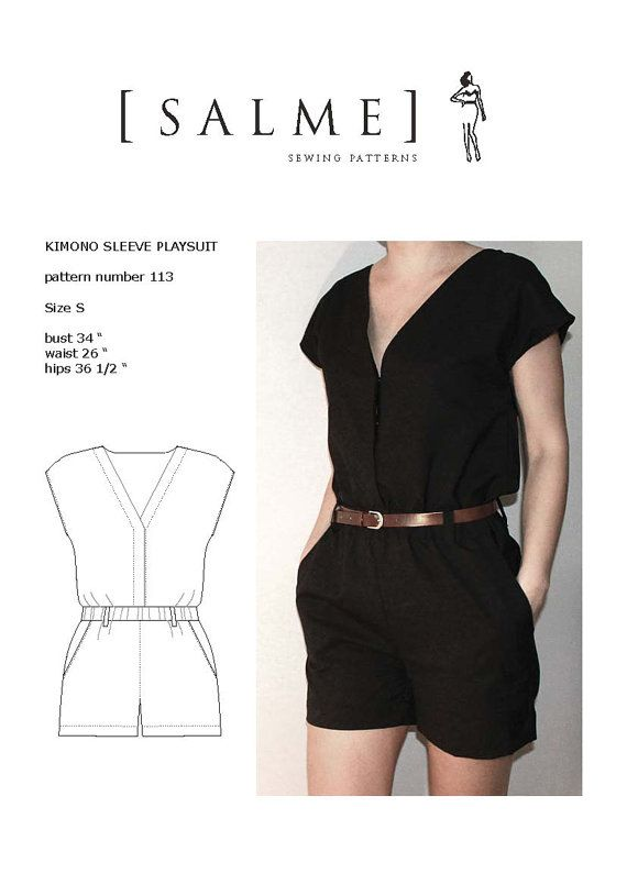 A cute play suit pattern for the summer. Salme patterns on Etsy! #sewing #pattern #pdf #summer