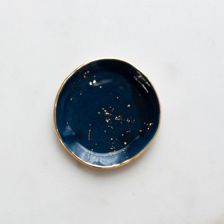 Navy Ring Dish with Gold Splatters: The perfect resting spot for your favorite jewelry!