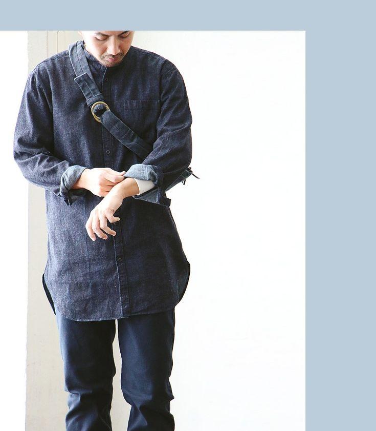 【楽天市場】【送料無料】 Audience [オーディエンス] 長袖シャツ バンドカラーシャツ ノーカラーデザイン 麻混デニム生地 日本製 ロング丈 イージーシルエット メンズシャツ レディースシャツ ダークインディゴ:PATY