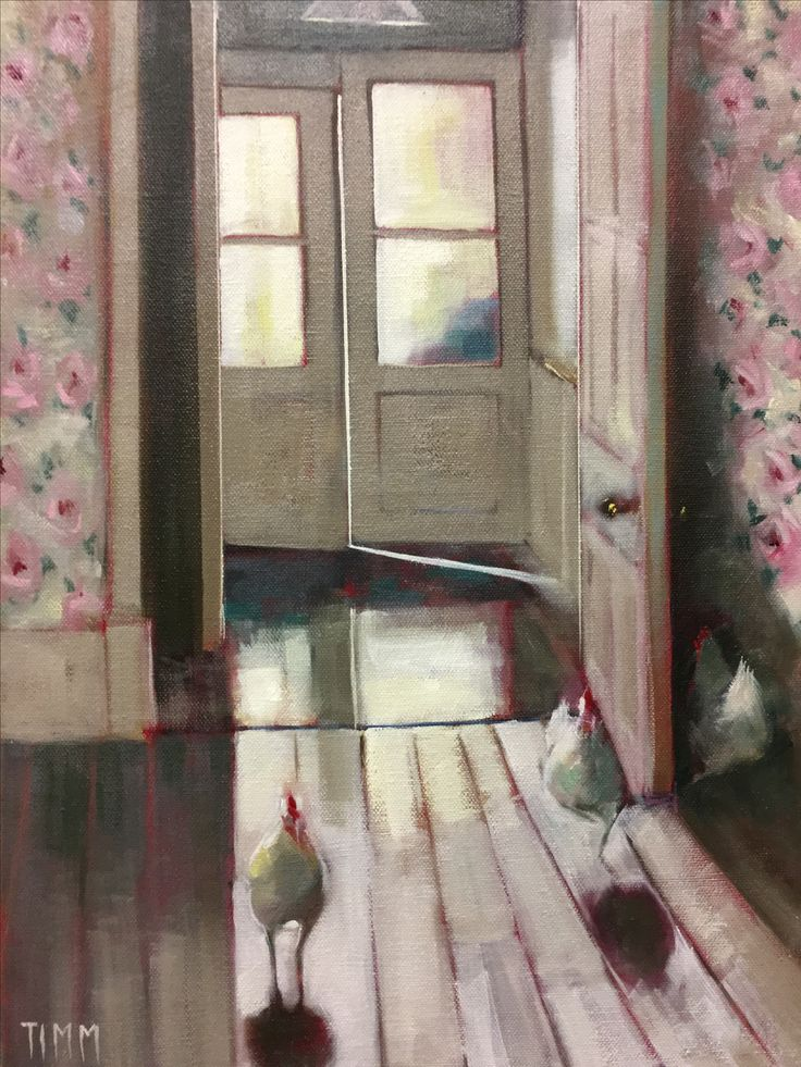 #Hens #Floorboards #Doors #Painting #Art 'The Hen House' oil on canvas. For sale at Silver Tree Gallery, Cromford, Derbyshire