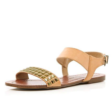 Brown studded panel sandals - River Island