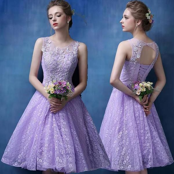 Princess Illusion neck Lilac Lace Homecoming Dresses,Elegant Short Pro – diydressonline
